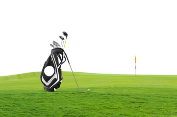 Golf equipment and golf bag , putter, ball on green at golf course  isolated on white background