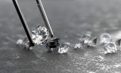 Realistic Diamond in tweezers soft focusing, 3d rendering.