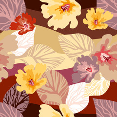 Beautiful floral print with Japanese art motifs.