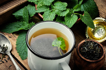 Green melissa herbal tea