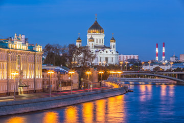 Cathedral of Christ the Savior and Moscow river at twilight in Moscow, Russia, Architecture and landmarks of Moscow.