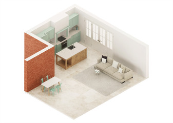 Modern interior of a country house. Orthogonal projection. View from above. 3D rendering.