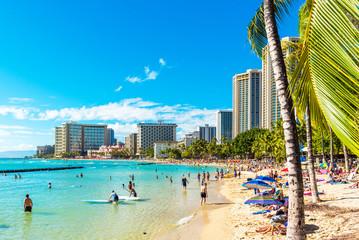 HONOLULU, HAWAII - FEBRUARY 16, 2018: View of the Waikiki beach. Copy space for text.