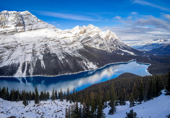 View of Peyto Lake in Banff National Park after the first snow of winter.