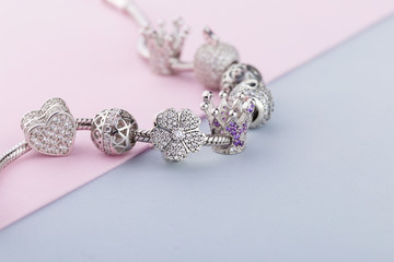 Bracelet with silver charm beads with gems
