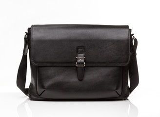 black leather men casual or business briefcase on white background