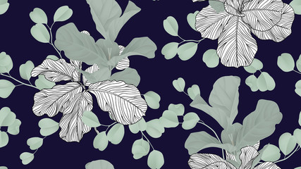 Floral seamless pattern, green fiddle leaf fig plant and Silver Dollar Eucalyptus leaves on dark blue background, pastel vintage theme