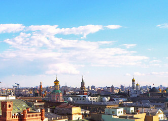 Panoramic view on Moscow city center and Kremlin, Russia