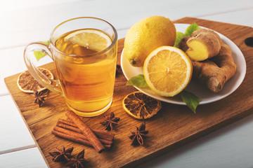 hot ginger tea with lemon. flu cold season drink