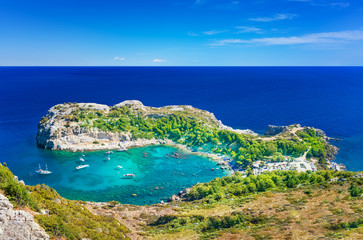 Panoramatic view of Anthony Quinn bay and Mediteranean sea (Rhodes, Greece)