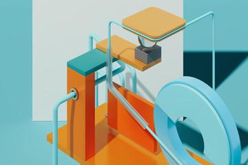 Wielobarwny figur geometrycznych i obiektów na niebieskim tle. Renderowania 3d.