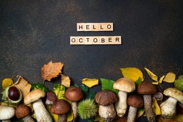 Witam październikowa karta. Grzyby Borowik, kasztany, dzikie jagody, jarzębina i jesienne liście w tle. Jesienna kompozycja. Jesienny nastrój. Widok z góry