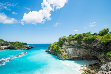 blue bay lagoon near Bali in Indonesia, Nusa Penida