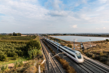 High Speed Train Running in Lleida Province (Spain)