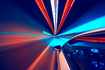 Abstract speed motion in tunnel, blurred motion.