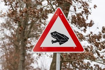 Verkehrsschild Krötenwanderung/ Amphibienwanderung, Achtung Kröten und Frösche kreuzen die Straße, Artenschutz, Stieleichen (Quercus robur) im Vorfrühling, Deutschland, Europa