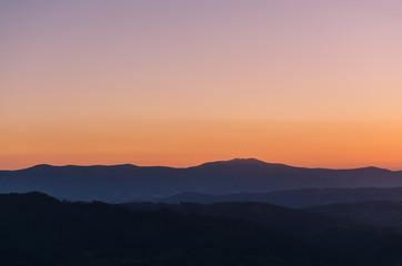Sunset in the Carpathian Mountains in the autumn season