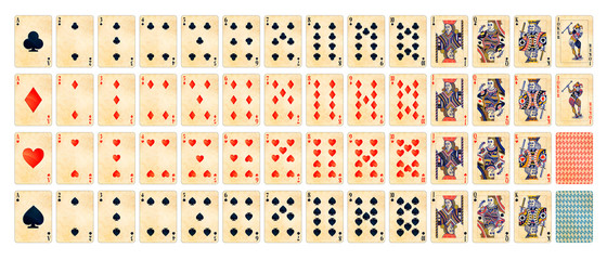 Full set of detailed colorful poker cards with old paper texture isolated on white