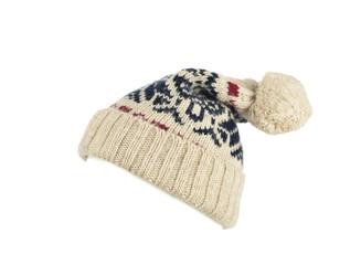 Wełny czapka kapelusz na białym tle