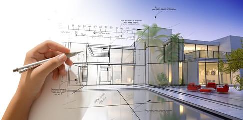 Rysunek projektant willi z basenem
