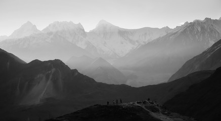 Landscape view of mountains in Karakoram range with morning fog. Eagle's nest viewpoint, Hunza valley, Gilgit-Baltistan, Pakistan.