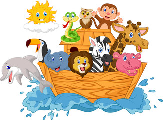 Cartoon Noah's ark isolated on white background