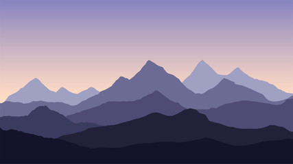 Vector abstract illustration of a multi-layered mountain landscape under a purple morning or evening sky with a rising or setting sun - vector