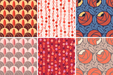 Set of seamless patterns in Art Deco style