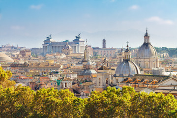 view of skyline of Rome city at day, Italy