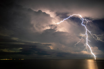 Thunder storm, Lightning  over the sea