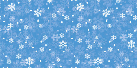 Blue Christmas snowflakes repeat pattern. Great for winter holidays wallpaper, backgrounds, invitations, packaging design projects. Surface pattern design.