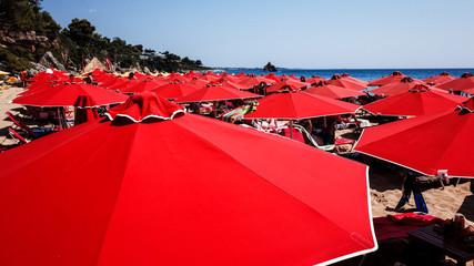 Beach Umbrellas, Kefalonia, Greece