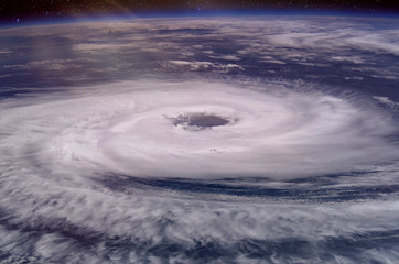 Huge hurricane eye. Elements of this image furnished by NASA. 2018.