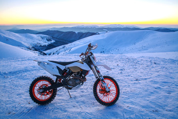 Motorcycle extreme sport bike winter snowy mountains