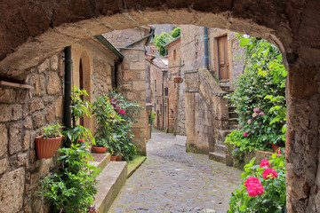 Romantic view to the pittoresque street in Sorano, Tuscany