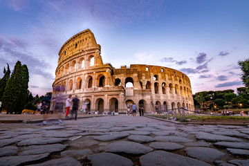 Tourists Visiting The Colosseum in Rome Italy