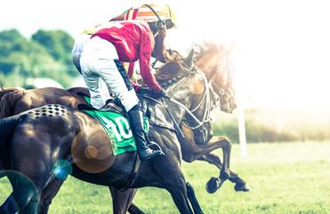 Konie wyścigowe i dżokeje ścigają się w słońcu, efekt rozbłysków krzyżowych przetworzonych