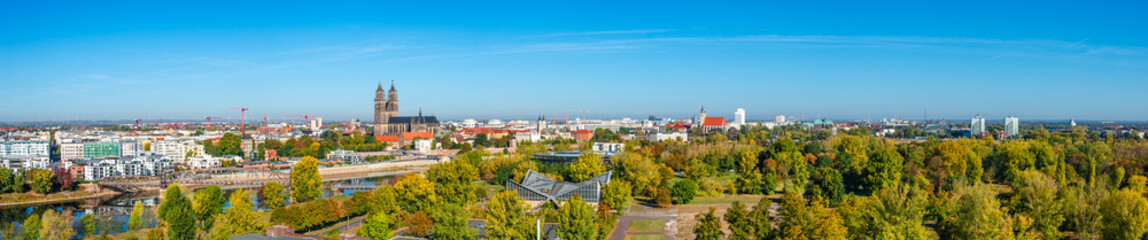 Panoramic bird view of river Elbe, old and new town, parks in Magdeburg, Germany, late Autumn