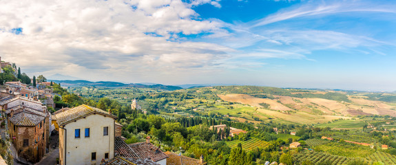 Panoramic view at the Tuscany nature from Montepulciano - Italy