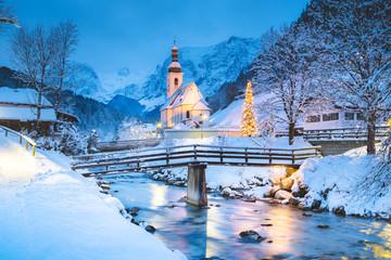 Church of Ramsau in winter twilight, Bavaria, Germany