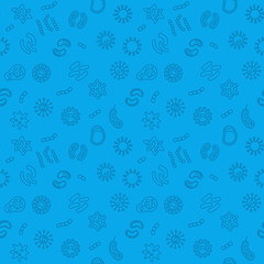 Seamless microbiology blue pattern. Vector illustration