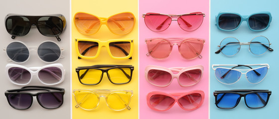 Modern fashionable sunglasses for background