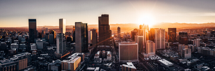 Aerial drone photo - City of Denver Colorado at sunset
