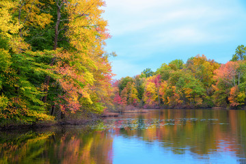Davidsons Mill Pond fall foliage in New Jersey