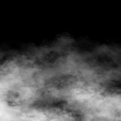 White fog and mist effect on black stage studio showcase room background.