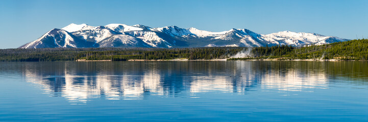 Beautiful Yellowstone Lake in Yellowstone National Park, USA