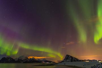 Nordlichter bei Myrland auf den Lofoten