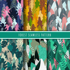 Forest and nature seamless pattern. Jungle patterns vector. Set of 6 tree and tropical leaf background. Green wallpaper. Nature texture background repeat. Forest printable digital papers.