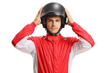 Racer with a helmet