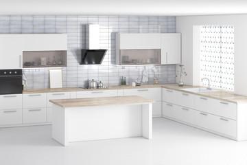 White modern kitchen interior 3d rendering
